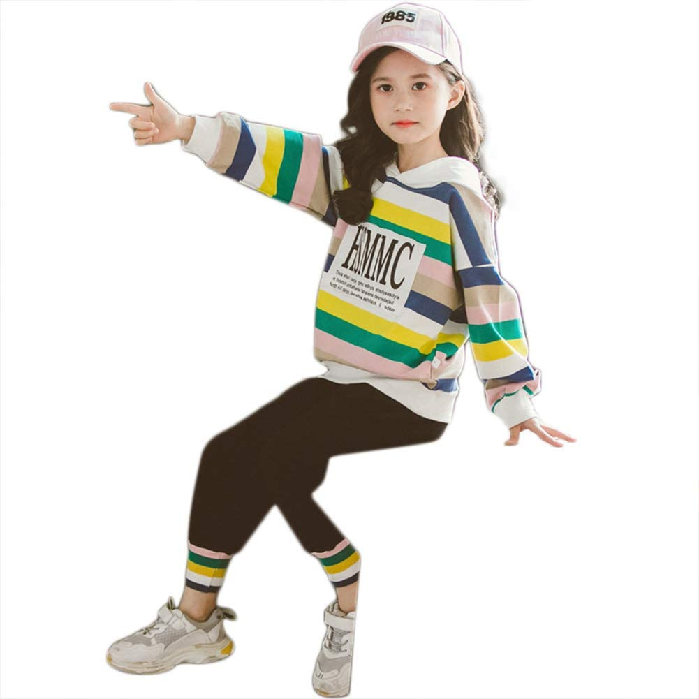 AKDSteel Children's Autumn Spring Two-Piece Fashion Rainbow Long Sleeve Cotton Sweater + Pants Suit