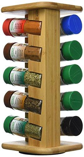 Kesper Gewürzkarussell mit 10 gefüllten Gewürzgläsern 110 ml, Bambus, Braun, 40 x 30 x 20 cm, 11-Einheiten