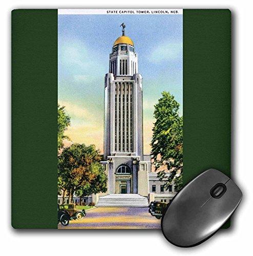 3dRose LLC 8x 8x 0.25Inches Mouse Pad, Estado Capital Torre Lincoln Nebraska con envejecido de coches–(MP 170277_ 1)