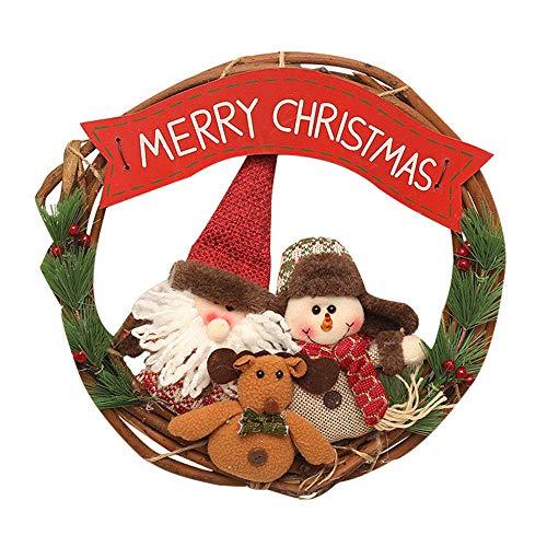 ZXPAG Bloemenkrans Voordeur Zomerkransen voor Voordeur Herfstkrans Voordeur Kerstversiering items, Kerst krans rotan cirkel voor buiten, Halloween, Thanksgiving