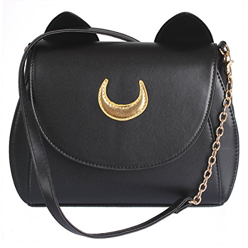 AKStore Women's Handbag Cat Purses Cosplay Sailor Moon Bag PU Leather Girls Handbag Shoulder Bags (Black)
