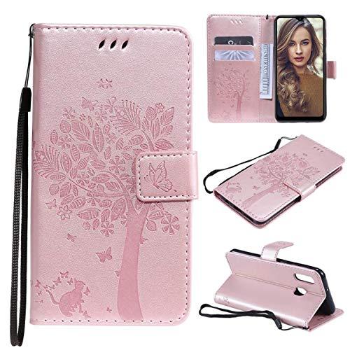 FANNA Cover per Samsung Galaxy A20E - Custodia per Telefono Samsung A20E Slot schede Chiusura Magnetica Cavalletto Custodia per Cellulare in con Vibrazione (Oro Rosa)