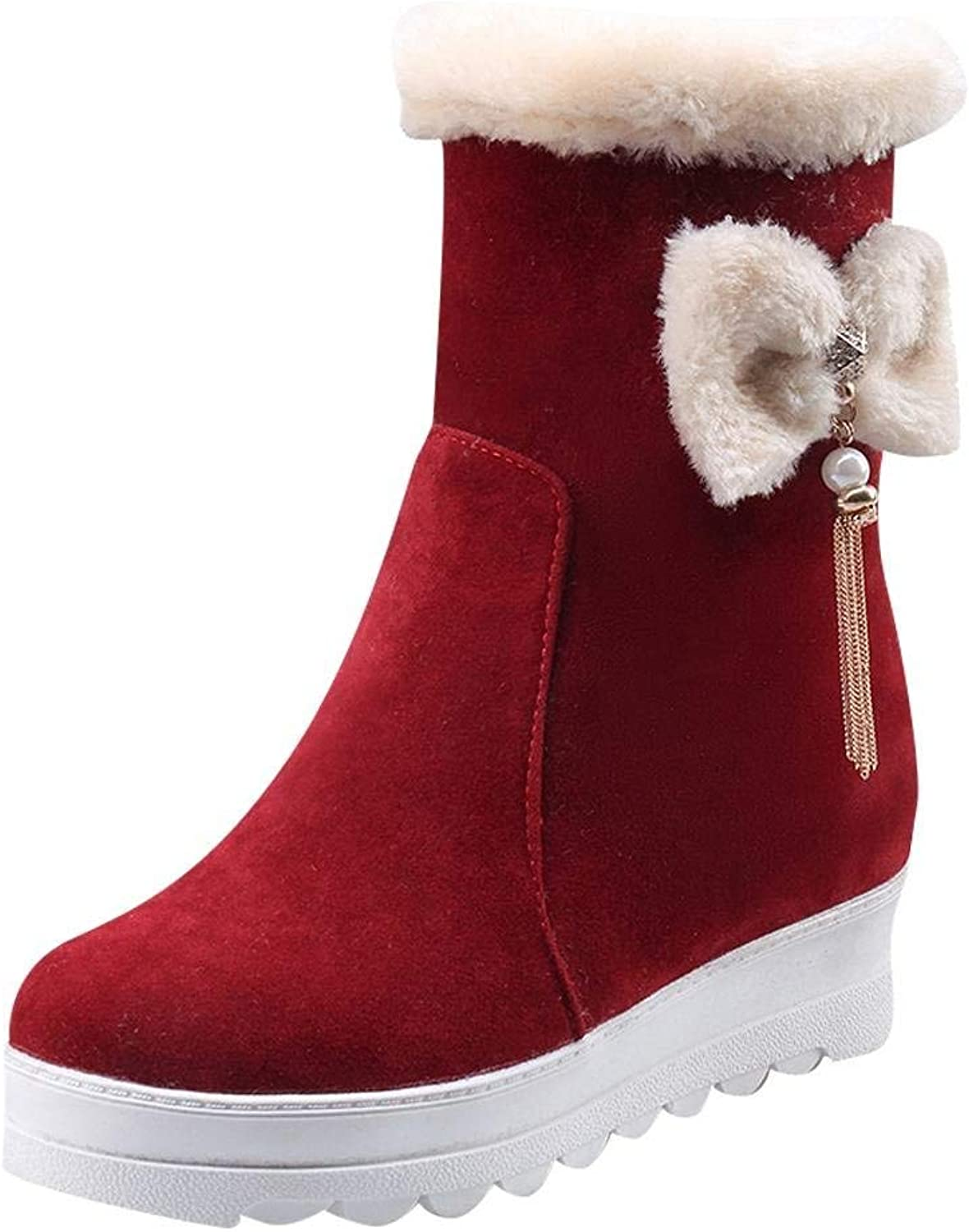 Gedigits Women's Bows Platform Wedge Velvet Lining Winter Boots Wine Red 7.5 M US