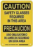 Brady 125440 Bilingual Sign, Legend'Safety Glasses Required/Use Obligatory De Lentes De Seguridad En Esta Area', 10' Height, 7' Width, Black on Yellow