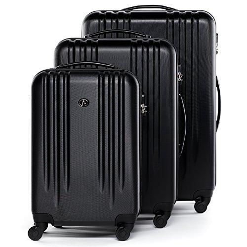 FERGÉ Kofferset Hartschale 3-teilig Marseille Trolley-Set mit Handgepäck 55 cm 3er Set Hartschalenkoffer Roll-Koffer 4 Rollen schwarz