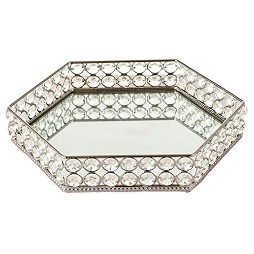 Amuzocity 1pc Crystal Vanity Tray Mirror Cosmetic Bottle Desktop Decor