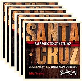 Santa Cruz Parabolic Tension Acoustic Guitar Strings Mid Tension (6 Pack)