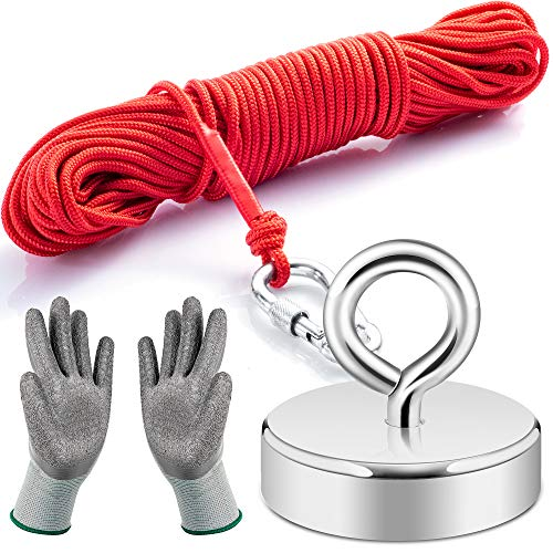 Neosmuk Fishing Magnet Kit, 700LBS Plus 3 Inches Neo-Magnet Base with Lifting Eye-Bolt, Non-Slip Rubber Gloves and 66 Feet Rope Ideal for Retrieving Items in Lake,Beach,Lawn and New House