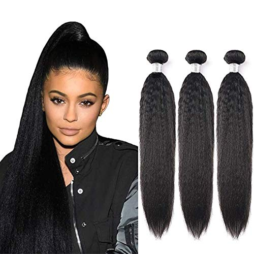 Yaki Straight Wave Human Hair Extensions Weft Weave Natural Black Color 100% Unprocessed 3 Bundles Virgin Remy Human Hair Same Length 100g/Pcs 18 20 22 Inch Kinky Striaght Hair