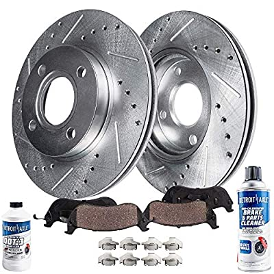 Detroit Axle - Pair (2) Front Drilled and Slotted Disc Brake Kit Rotors w/Ceramic Pads w/Hardware & Brake Kit Cleaner & Fluid for 2000 2001 2002 2003 2004 2005 2006 Nissan Sentra 1.8L