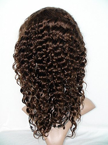 High-Quanlity Front Lace Wig Real With Stretch Lace Back Ppilippines Virgin Remy Human Hair Deep Wave Color #4(trademark:DaJun)