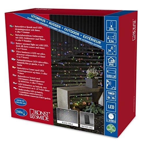 Konstsmide 3725-500 LED Lichternetz / für Außen (IP44) /  Batteriebetrieben: 4xD 1.5V (exkl.) / mit Lichtsensor, 6h und 9h Timer / 240 bunten Dioden / schwarzes Kabel