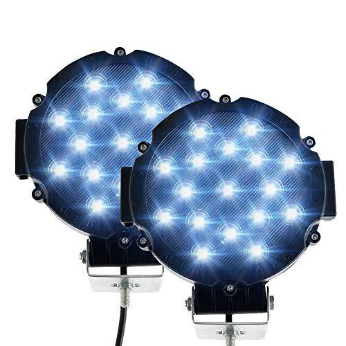 2 PCS 51W Redondo Foco de luz LED de Trabajo, Luz de Trabajo LED de Largo Alcance Impermeable IP67 Spot Flood Luces LED Antiniebla 5100LM Luces de Trabajo para Coche/ Motocicleta/SUV/Tractor