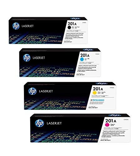 4x Original HP Toner CF400A CF403A 201A für HP Color Laserjet Pro MFP 277 DW - Black, Cyan, Magenta, Yellow - Leistung: BK ca. 1500 Seiten / Farben ca. 1400 Seiten/5%