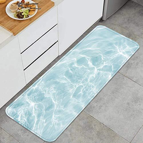 YANAIX Alfombra Cocina,Piscina de Superficie Azul Piscina de Agua de Fondo,para Piso hogar Oficina Fregadero lavandería súper Absorbente Antideslizante