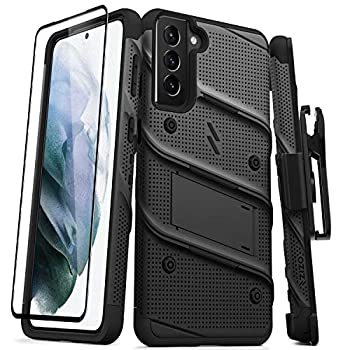 ZIZO Bolt Series for Galaxy S21 Plus Case with Screen Protector Kickstand Holster Lanyard - Black