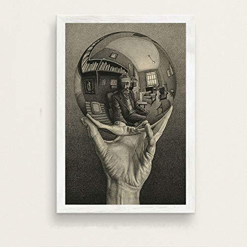 LGYJAL Escher Surrealismo geométrico Arte Abstracto Moderno Pintura en Lienzo Póster Hogar Sala de Estar Dormitorio Decoración Arte de la Pared Póster 50x70 cm B-440