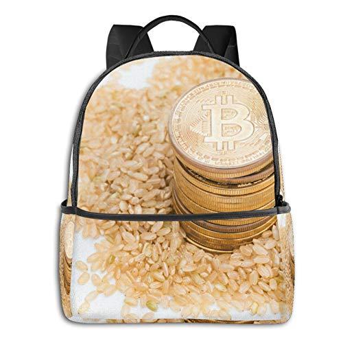 Mochilas Escolares Bolsa Daypack Mochila Tipo Casual para Niños Niñas para Portátiles Netbooks Bitcoin Comida Plato De Cocina Arroz