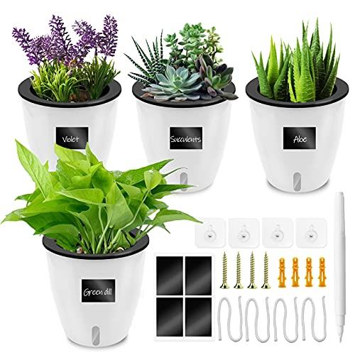 Loiion 4 Stück Selbstbewässernde Pflanze Blumentopf Wand Hängende Pflanztopf Selbstbewässerung Wasserspeicher Pflanzgefäße Küchenkräuter Blumentopf 14 cm Diamètre