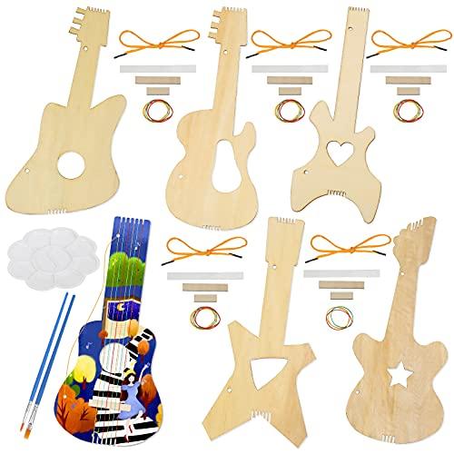LOPOTIN 6pcs Juguete Ukelele Infántil para Principiantes Niños Niñas, Guitarra Pequeña Tableta de Madera con Bandeja Pintura y Pincel Pintar Creatividad, Instrumento, Música, Decoración Arte de Hawaii