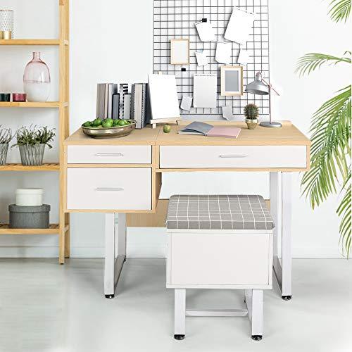 EBTOOLS- Make-uptafel met 1 verborgen spiegel en 3 laden, houten bureautafel kaptafel werktafel voor thuisgebruik 106 x 47,5 x 77 cm (zonder stoel)