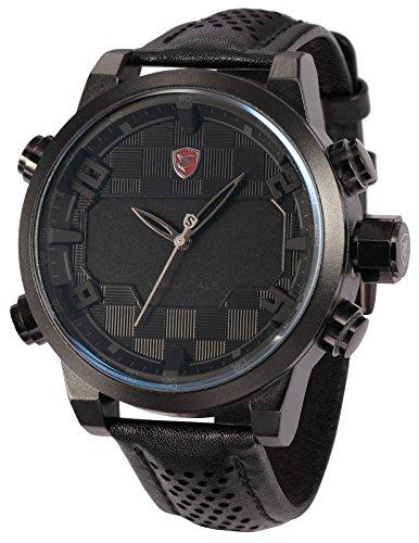 Shark Herren Armbanduhr LED Analog Digital Extragroß Uhrgehäuse Lederband