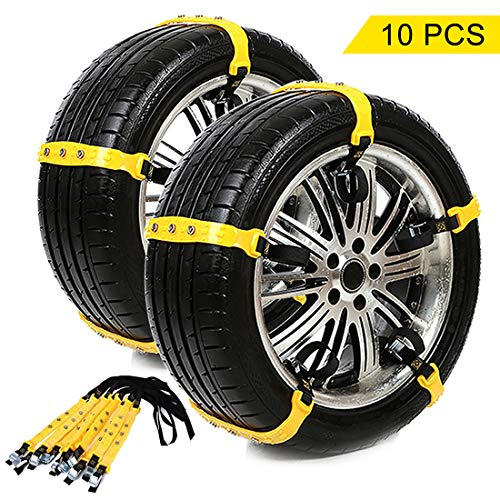 BEAUTY DY Snow Chains, Snow Tire Chains Car Anti Slip Adjustable Anti-Skid Chains Car Tire Snow Chains for Car/SUV 10Pcs (Yellow-1)