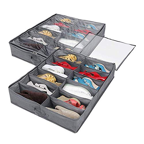 Organizador de zapatos para debajo de la cama, juego de 2, para un total de 24 pares de zapatos, solución de almacenamiento debajo de la cama