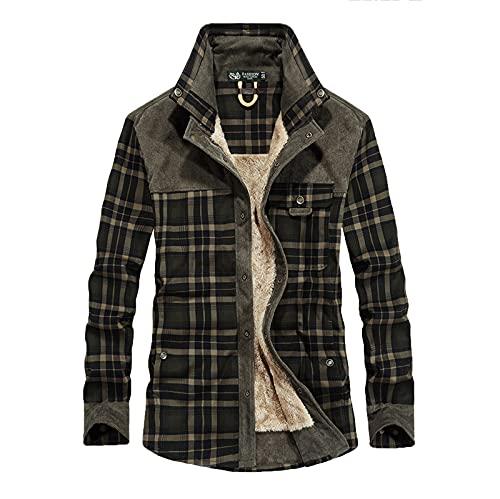 Men Plaid Lapel Coat Long Sleeve Autumn Winter Warm Pocket Cotton Thick Jacket Overwear Gray