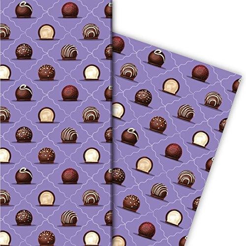 Kartenkaufrausch Delicate geschenkpapier set met chocolade bonbons als elegante geschenkverpakking, designpapier, scrapbooking, 4 vellen, 32 x 48 cm, paars