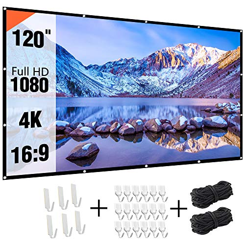 Projectior Screen 120 inch, Real-Anti-Crease 120in 16:9 HD Outdoor Movie Screen Portable Projection Screen for Home Theater Backyard Movie Night, Double-Sided Movies Screen for Outdoor Indoor