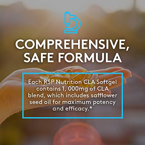 RSP CLA 1000 Conjugated Linoleic Acid Max Strength Softgels, Natural Stimulant Free Weight Loss Supplement, Fat Burner for Men & Women, 180 Ct. (Packaging May Vary) 8