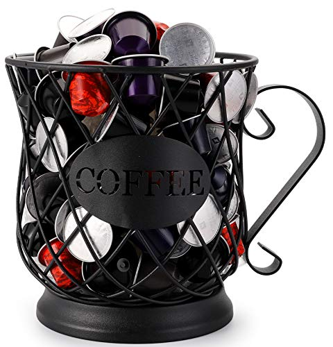 Yesland Coffee Pod Holder, Black Metal Wire Mug Kup Keeper/Coffee Pod Storage, Perfect K Cup Holders and Carousel Holder for Counter Coffee Bar