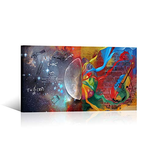 VVOVV Wall Decor Left Brain Right Brain Wall Art Inspirational Galaxy Universe Musical Instrument Painting Science Poster Canvas Print Framed Artwork 20x36inch Living Room Bedroom Office Wall Decor