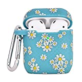 Airpod Case AIRSPO Airpods Case Cover for Apple AirPods 2&1 Cute Airpod Case for Girls Silicone Protective Skin Airpods Accessories with Keychain (Teal Daisy)