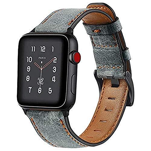 Correa de Cuero Solo Loop Compatible con Apple Watch Series SE/6/5/4/3, Watch Strap Compatible con iWatch 42mm 38mm 44mm 40mmm, Pulseras de Repuesto, Gris Correas para Band