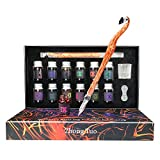 Glass Dip Pen 15Pcs Calligraphy Pens Set with12 Colors Inks Cute Glass Caligraphy kits for Beginners Art Pen Set for Writing, Drawing,Decoration, Gift