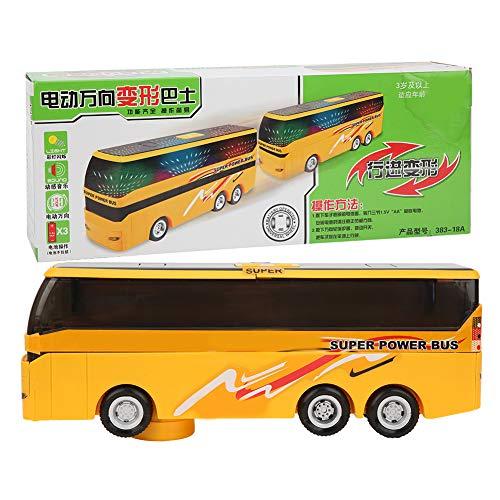 Zerodis Juguete de autobús para niños, Juguete de autobús Escolar de conversión de Capa Modelo de autobús eléctrico con luz para niños Mayores de 3 años(Amarillo)