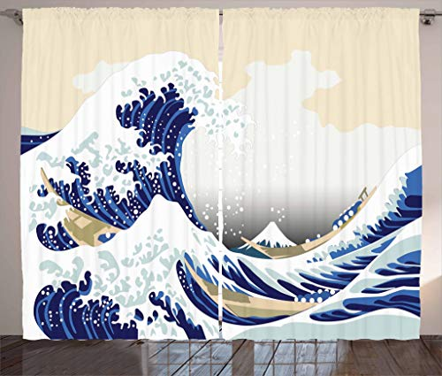 "Lunarable Wave Curtains, Hokusai Pattern Japanese Ukiyoe Themed Oriental Sketch Style Ocean, Living Room Bedroom Window Drapes 2 Panel Set, 108"" X 84"", Yellow Blue"