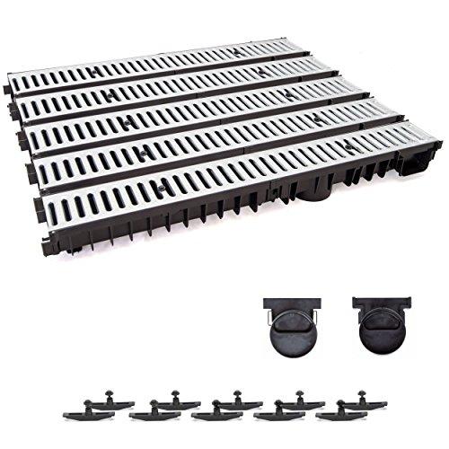 5m Entwässerungsrinne mit Dichtung Tiefe: 100 mm. Belastungsklasse A15. Stahlrost verzink.