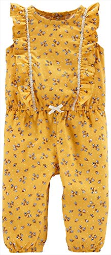Carter's Baby Girls' Soft Floral Flutter Jumpsuit Yellow (Size 6-18 Months)