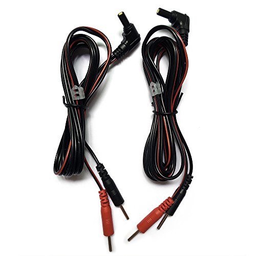 2 Pieces Premium TENS 7000 Replacement Electrode Leads Wires/Cables- 2.35mm Safety-Plug with Standard 2mm Pins Connectors