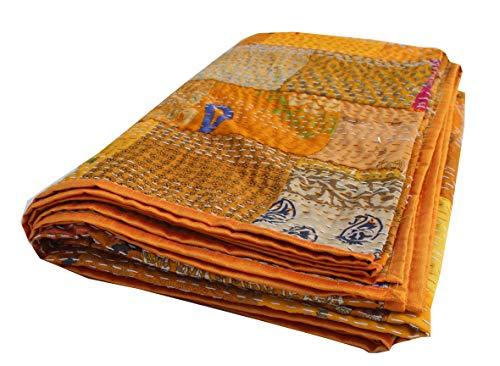 Indian-Shoppers Kantha Silk Patchwork Überwurf, Decke, indische gelbe Seide Tagesdecke, wendbare Bettwäsche, Gudri, handgefertigt, Queen-Size-Größe, genähte Decke, Schlafzimmer Dekor
