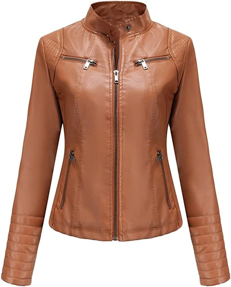 Women's Colors Slim-Fit Long Sleeve Leather Collar Zipper Suit Thin Coat