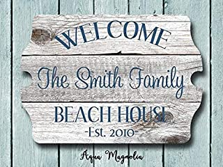 Custom House Sign Personalized House Sign Welcome Sign Beach House Sign Lake House Sign Cottage Farm House Beach House Bedroom Wood Sign with Sayings Home Decor Plaque Sign