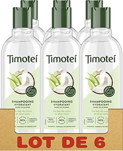 Timotei Shampooing Femme Hydratant Coco & Aloe Vera, Douceur et Légereté, Cheveux normaux à secs, Sans silicone Lot de 6 x 300ml