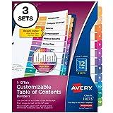 Avery Divisores de 12 abas para 3 fichários, índice personalizável, abas multicoloridas, 3 conjuntos (11073)