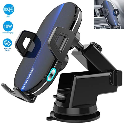 Wireless Car Charger, HAHAKEE Qi Wireless Charger Mount 2 in 1 Auto Clamp 10W Fast Charging Air Vent Cell Phone Holder for iPhone 11 Max XR X 8 Plus, Samsung Galaxy S10 S9 S9+ S8 Note 8 Note 9, LG V30