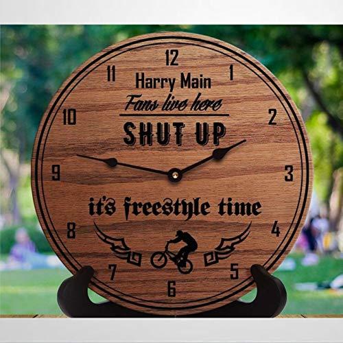 Harry Main presenta orologio da parete in legno silenzioso senza ticchettio B-m-x Freestyle Rider Clock 30,5 cm a batteria B-m-x regali per fidanzati X giochi casa ufficio scuola orologio
