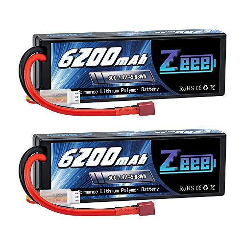 Zeee 2S Lipo Battery 6200mAh 7.4V 60C Hard Case Battery with Deans T Connector for RC Vehicles Car Truck Truggy Boat Racing Hobby(2 Pack)